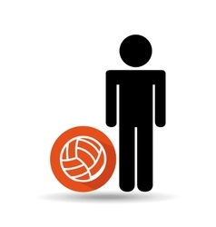 Man silhouette volley ball design vector