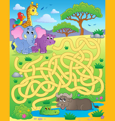 Maze 16 with tropical animals vector