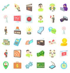 Media representatives icons set cartoon style vector