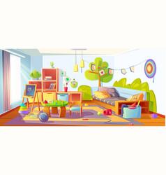 Mess in kids room messy child bedroom interior vector