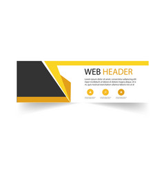 modern web header design template yellow black bac vector image