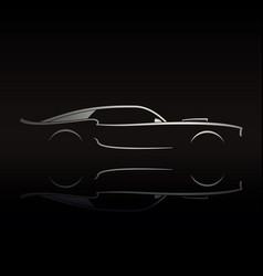 Muscle car silhouette on black background vector