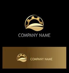 Organic leaf gold gear logo vector