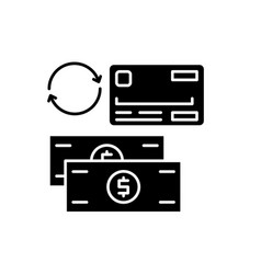 payment methods black icon sign on vector image