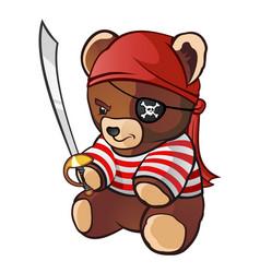 pirate teddy bear cartoon character vector image