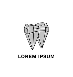 Polygonal mesh and tooth abstract icon vector