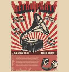 Retro party vintage gramophone on grunge vector