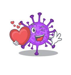 Romantic cartoon bovine coronavirus holding heart vector
