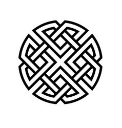 round celtic knot ethno pattern weave vector image