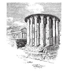 round temple in the piazza bocca della verita vector image