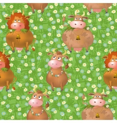 Seamless pattern cartoon cows on a meadow vector image