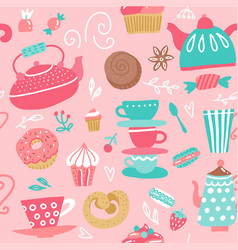 seamless pattern with tea kettles cups sweets vector image