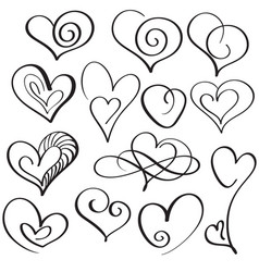 set of calligraphy heart art for design vector image