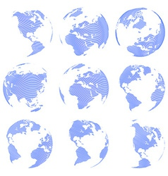 Set of nine abstract globe isolated on white vector image