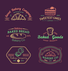 Set of vintage bakery logos retro labels vector