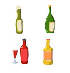 set wine bottle flat design in flat design vector image