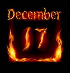 seventeenth december in calendar of fire icon on vector image