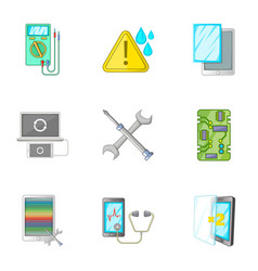 Smartphone repair icons set cartoon style vector