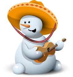 Snowman in a sombrero vector