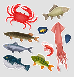 Stickers seafood set with crab fish mussel and vector