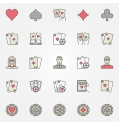 Texas holdem poker icons vector