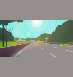The road against nature clear sunny day the vector