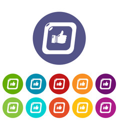 thumbs up icons set color vector image