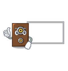 Thumbs up with board speaker character cartoon vector