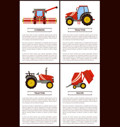 Tractor and combine set posters with text sample vector
