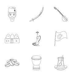 Turkey set icons in outline style Big collection vector