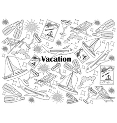 Vacation colorless set vector image