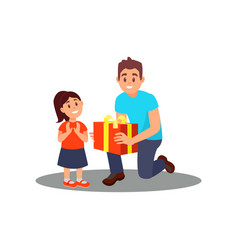 volunteer giving gift to little girl social vector image