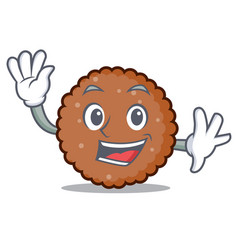 Waving chocolate biscuit character cartoon vector