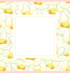 White indian lotus banner card vector