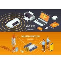 Wireless technology isometric horizontal banners vector