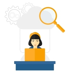 Woman working in office vector image