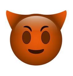 devil emoticon funny icon vector image