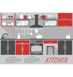 Kitchen interior decor infographic vector image vector image