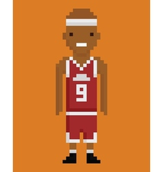 pixel art style young black man basketball player vector image