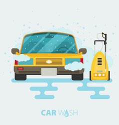 car wash web banner in flat style with car tool vector image vector image