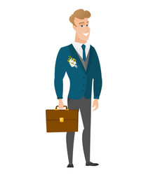 Caucasian groom holding briefcase vector