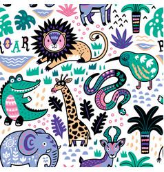 fashion safari seamless pattern with jungle vector image