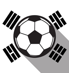 football icon with South Korea flag vector image