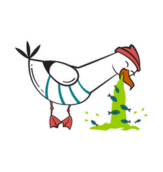 funny cartoon seagull spew vector image vector image