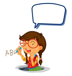 Girl holding speech bubble vector image vector image