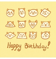 Happy Birthday Card with funny cat muzzles on vector image vector image