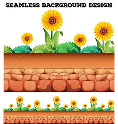 Seamless background with sunflowers vector