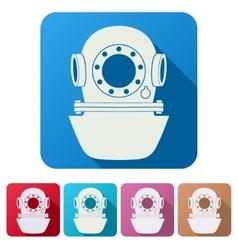 Set Flat icons of Underwater diving helmet vector image vector image