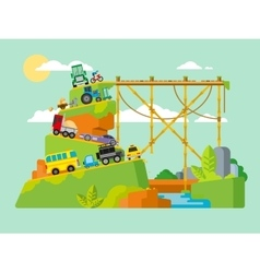 Traffic jam on road in mountains vector image vector image