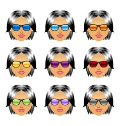 Female girl head with sunglasses vector image